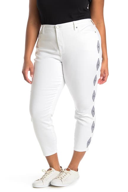 Image of NYDJ Ami Ankle Diamond Trail Embroidered Ankle Jeans