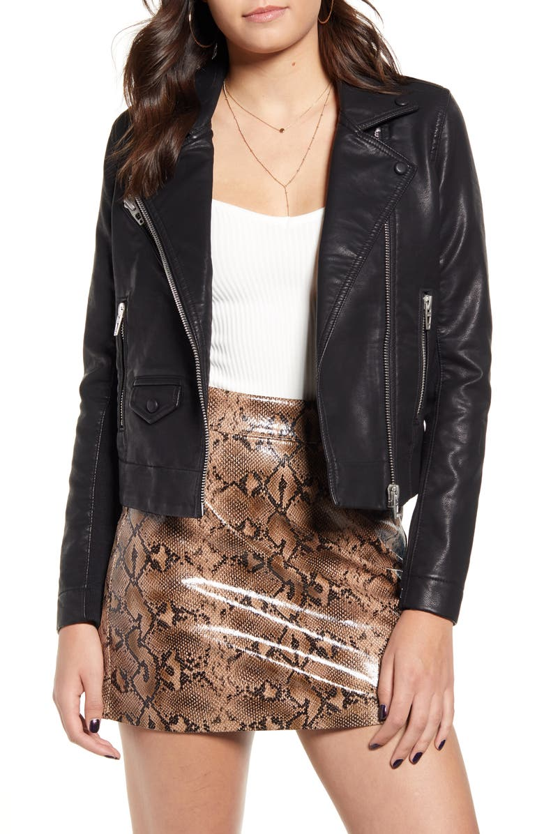 BLANKNYC Faux Leather Moto Jacket, Main, color, BARE MINIMUM