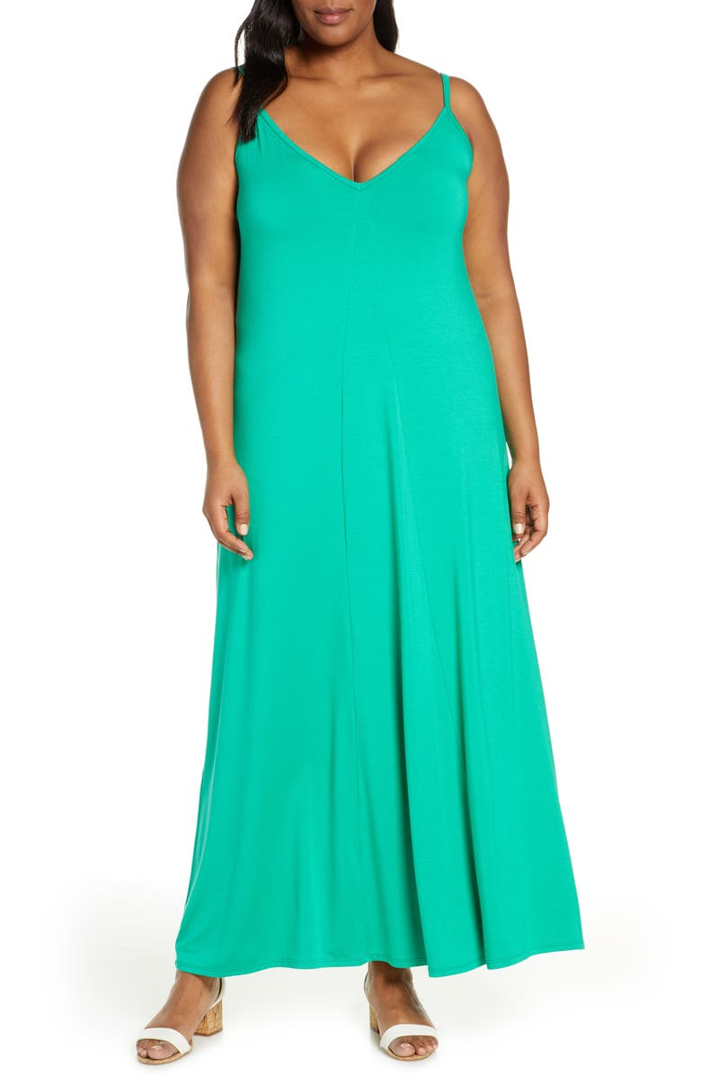 GIBSON x Living in Yellow Hazel Casual Knit Maxi Dress, Main, color, GREEN