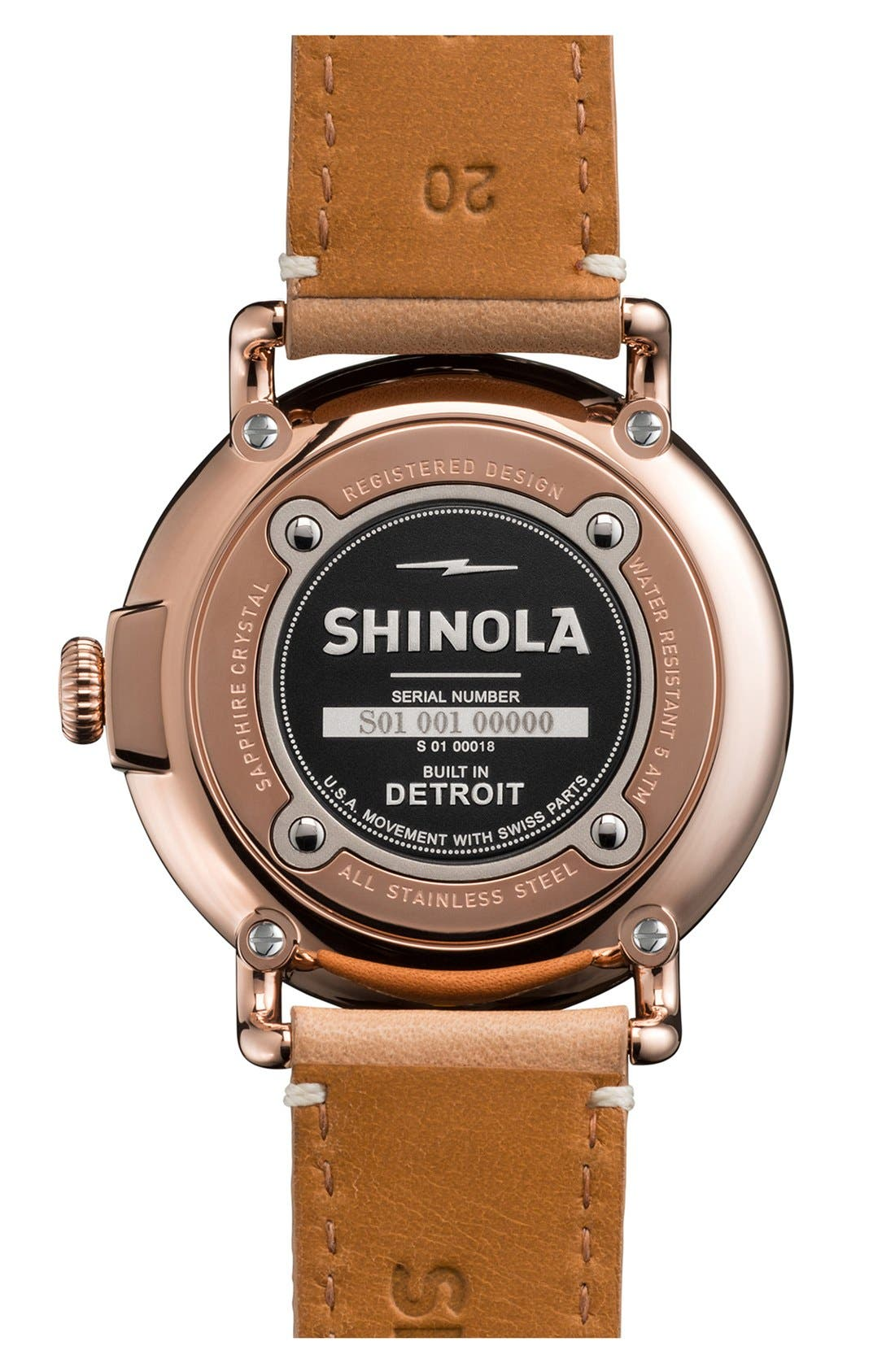 ,                             'The Runwell' Leather Strap Watch, 41mm,                             Alternate thumbnail 2, color,                             NATURAL/ ROSE GOLD
