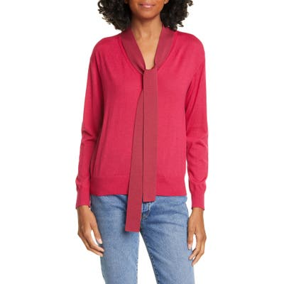 Tanya Taylor Jacque Colorblock Tie Neck Wool Sweater, Pink