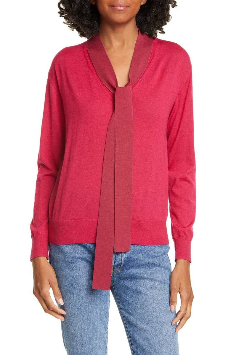 TANYA TAYLOR Jacque Colorblock Tie Neck Wool Sweater, Main, color, FUCHSIA