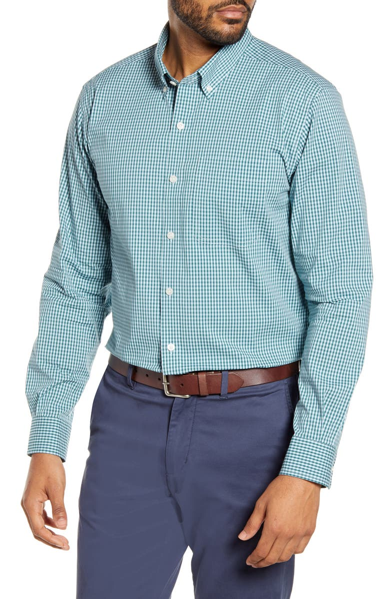 CUTTER & BUCK Anchor Classic Fit Gingham Shirt, Main, color, SEAWEED