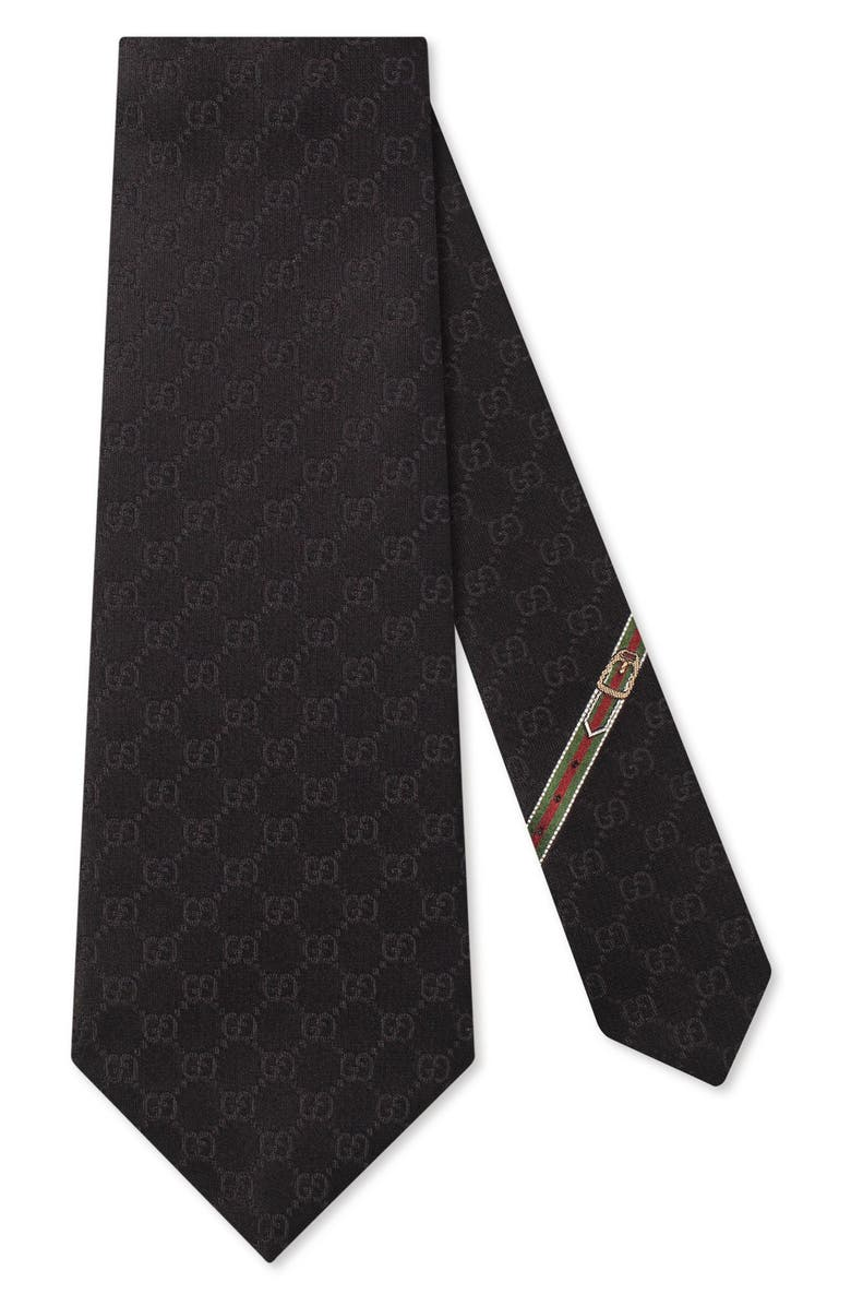 GUCCI Fedra Silk Jacquard Tie, Main, color, BLACK