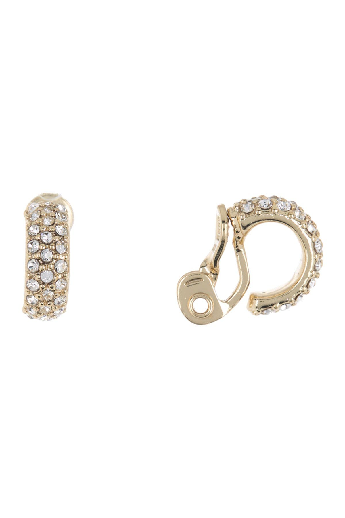 Image of Lauren Ralph Lauren CZ Clip-On Huggie Hoop Earrings