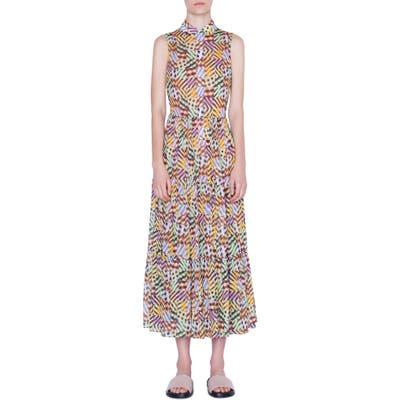 Akris Punto Patchwork Print Sleeveless Maxi Dress, Yellow