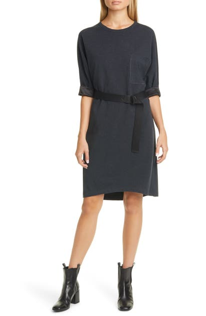 Brunello Cucinelli Dresses SATIN TRIM BELTED T-SHIRT DRESS