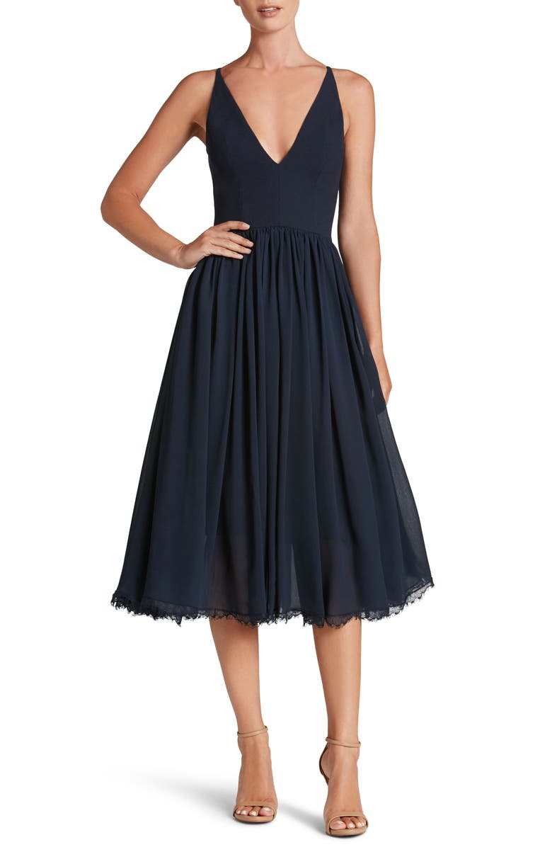 DRESS THE POPULATION Alicia Mixed Media Midi Dress, Main, color, MIDNIGHT