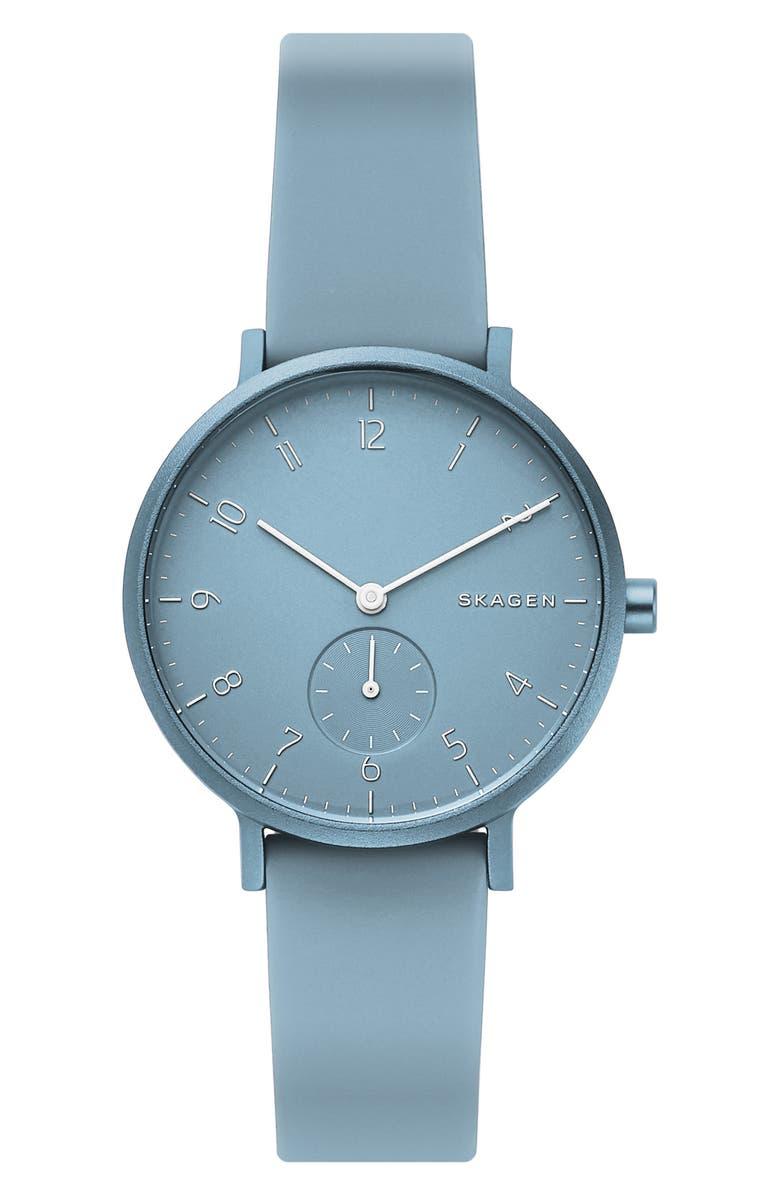 SKAGEN Aaren Kulør Rubber Strap Watch, 36mm, Main, color, BLUE