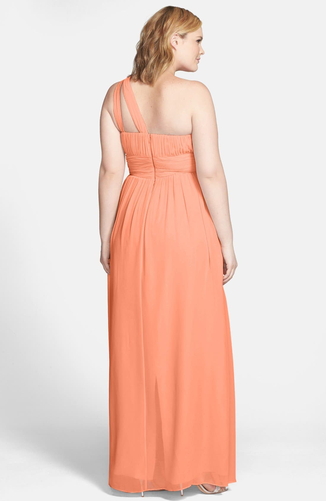 ,                             'Rachel' Ruched One-Shoulder Chiffon Gown,                             Alternate thumbnail 127, color,                             800