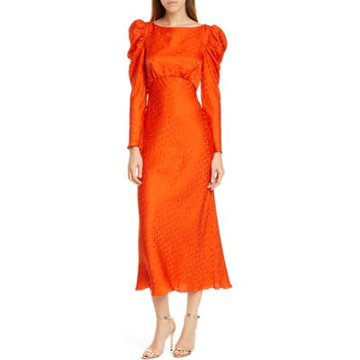 Saloni Alena Silk Midi Dress, Orange