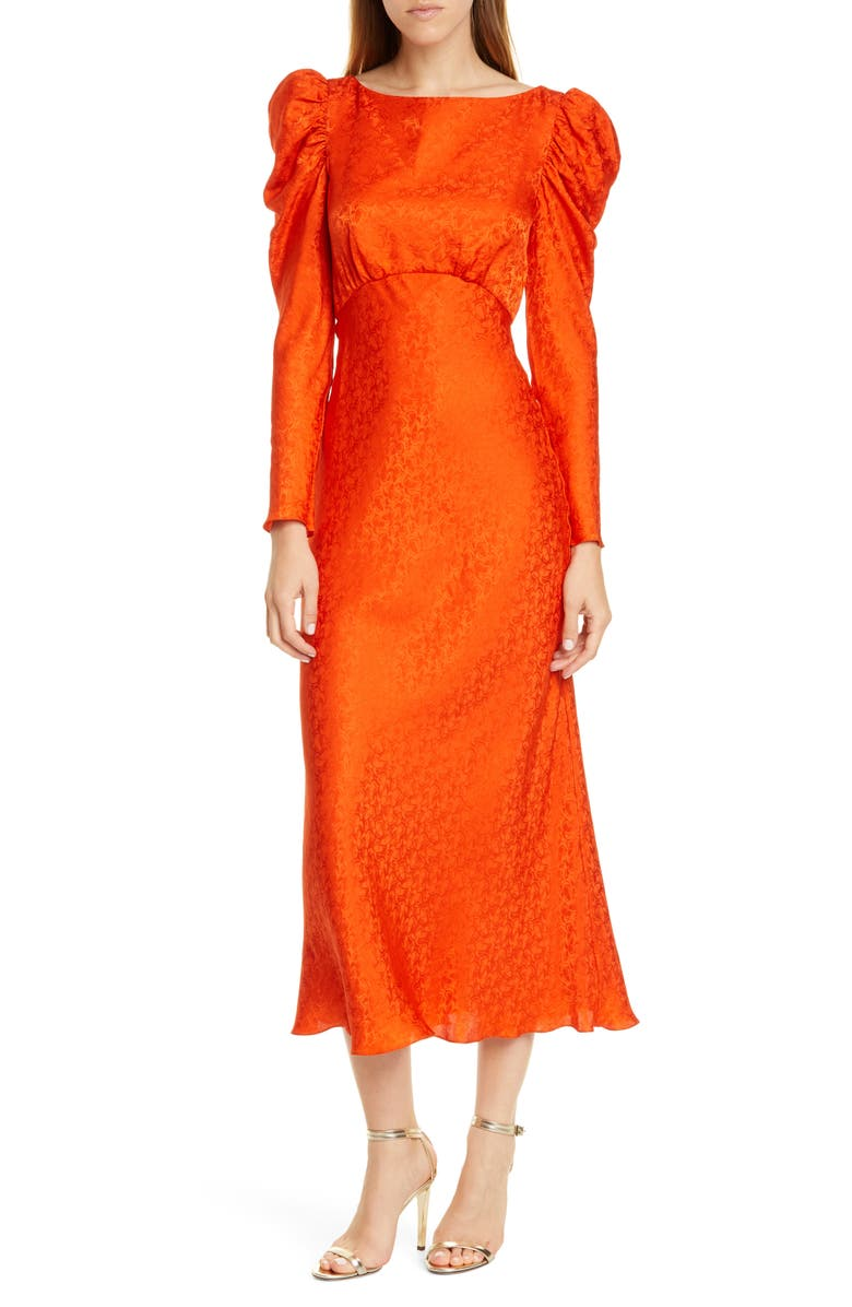 SALONI Alena Silk Midi Dress, Main, color, BITTER ORANGE