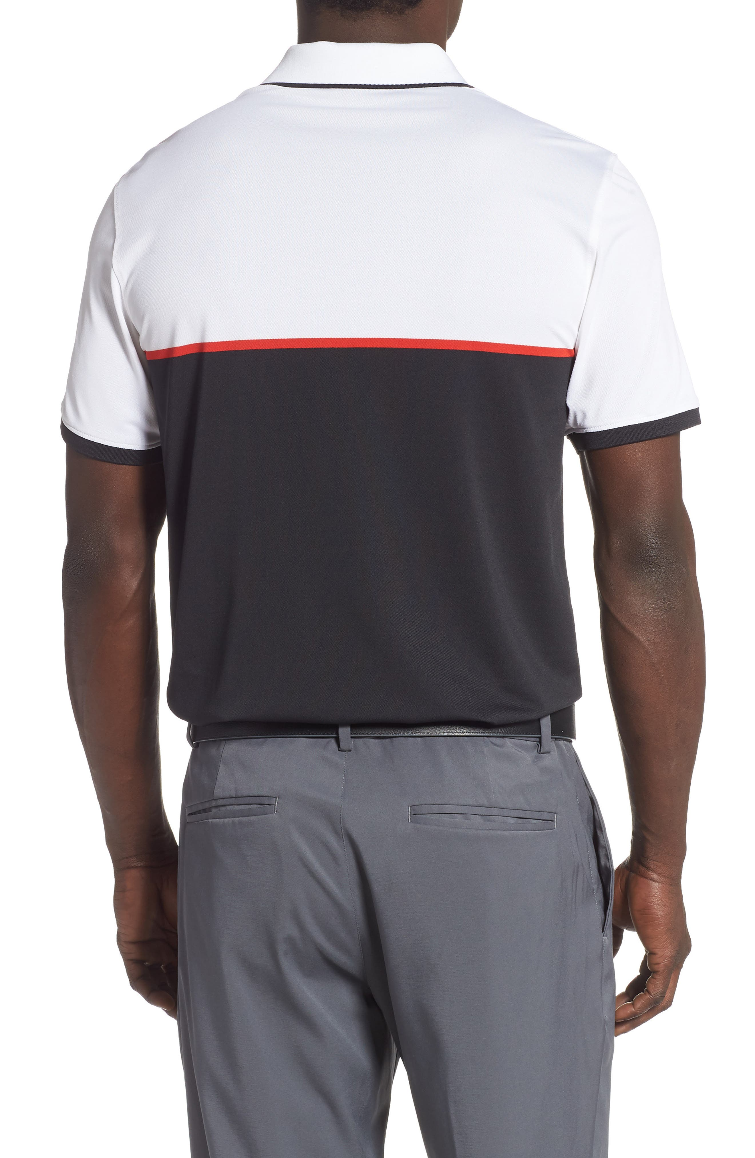 ,                             Zip Performance Golf Polo,                             Alternate thumbnail 2, color,                             BLACK INK / SNOW