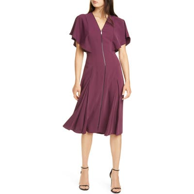 Ted Baker London Kasiane Exposed Zip Drape Sleeve Dress, (fits like 00 US) - Purple