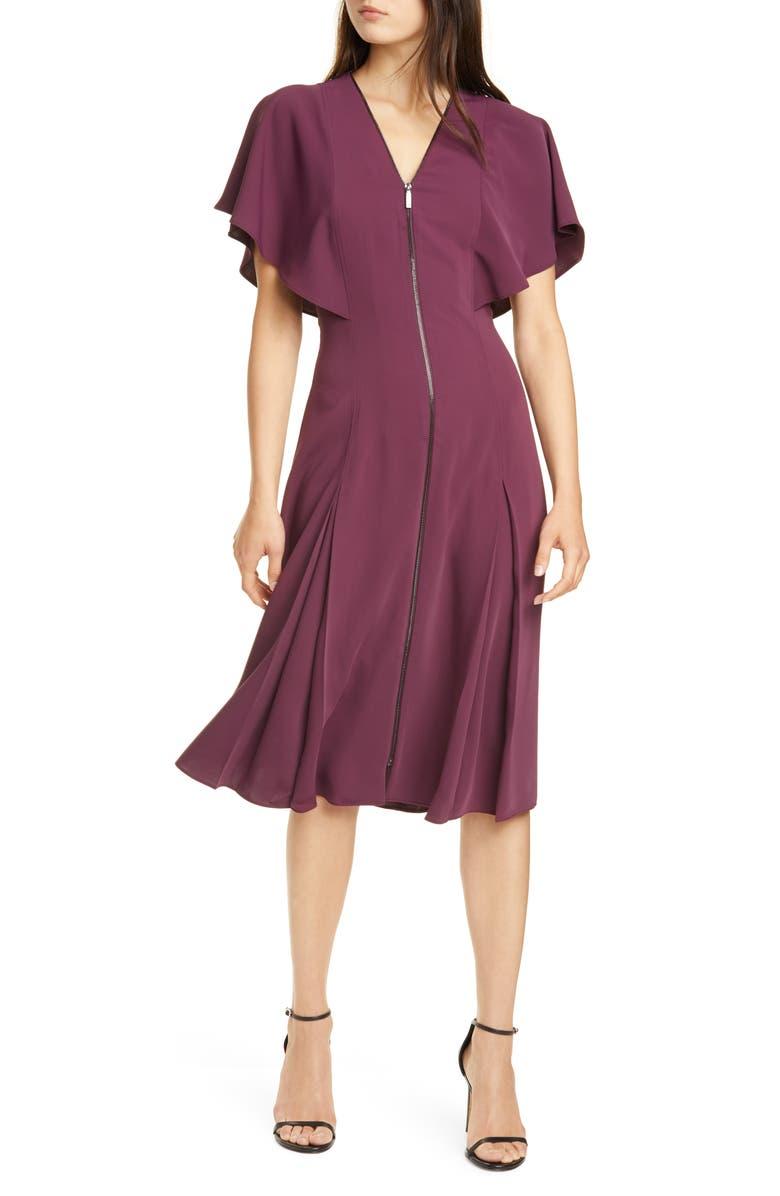 TED BAKER LONDON Kasiane Exposed Zip Drape Sleeve Dress, Main, color, DEEP PURPLE