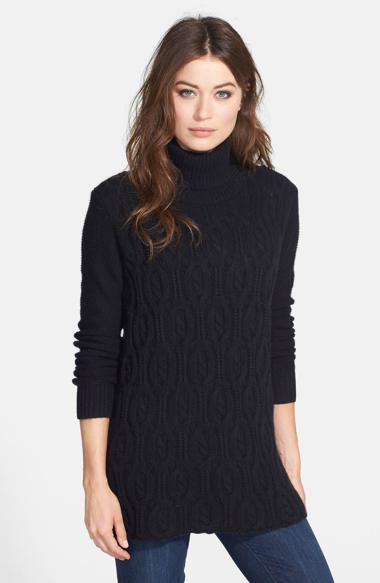 QUINN 'Teresa' Cashmere Cable Knit Turtleneck Tunic, Main, color, 001