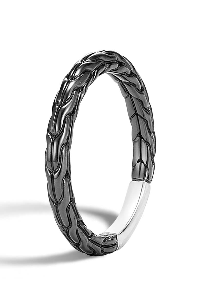 JOHN HARDY Classic Chain Band Ring, Main, color, SILVER/ BLACK RHODIUM