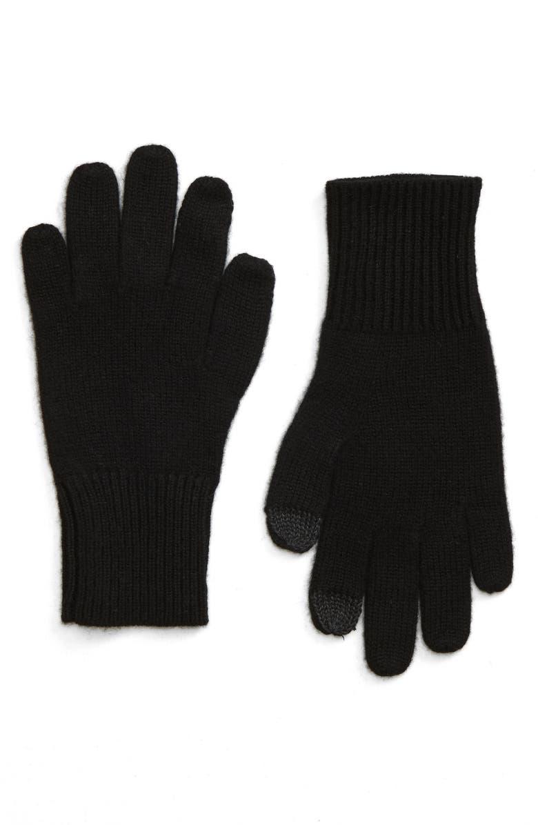 RAG & BONE Ace Cashmere Gloves, Main, color, BLK