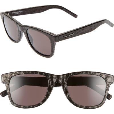 Saint Laurent 50mm Leather Wrapped Flat Top Sunglasses - Black Croco/ Grey