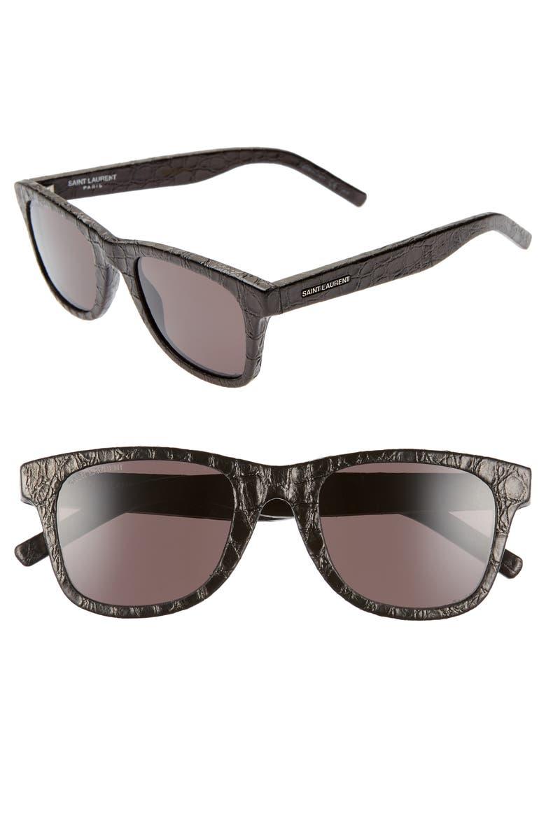 SAINT LAURENT 50mm Leather Wrapped Flat Top Sunglasses, Main, color, BLACK CROCO/ GREY