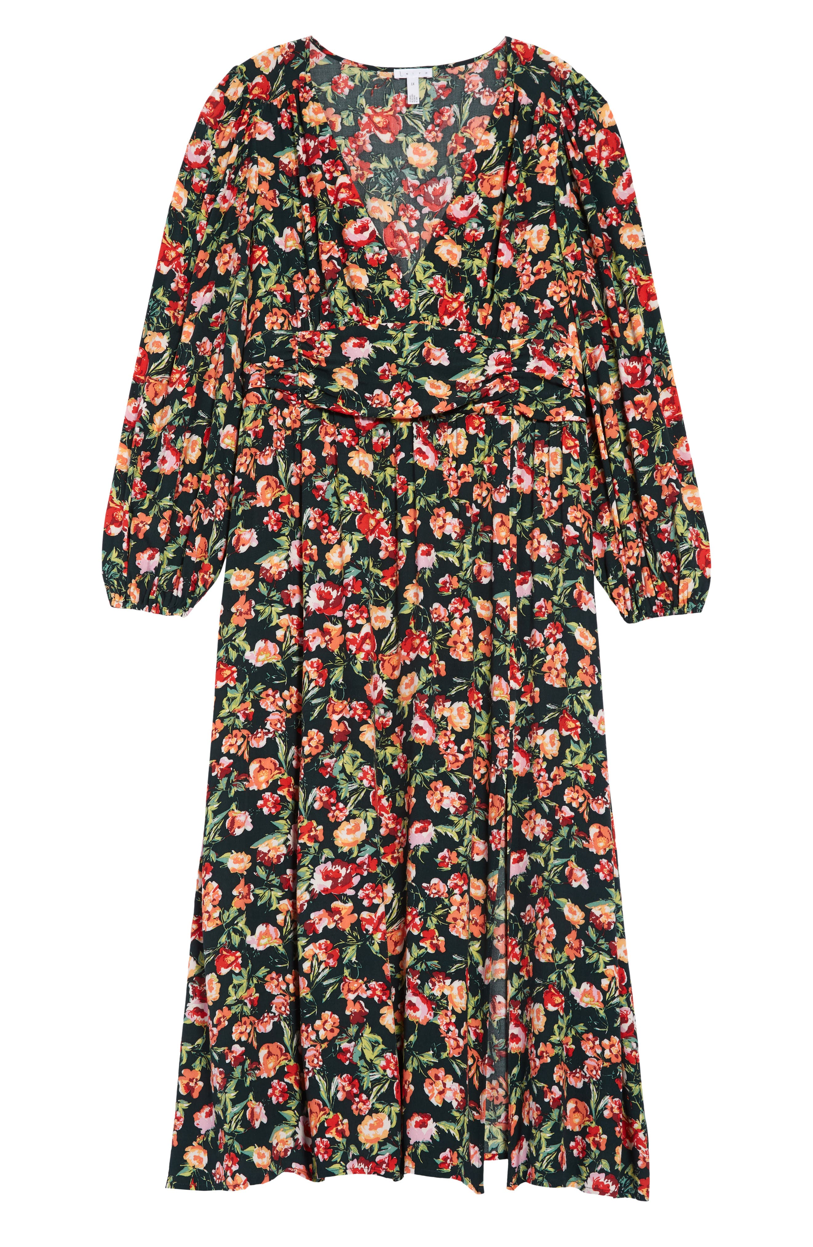 Leith Floral Print Long Sleeve Dress (Plus Size)   Nordstrom
