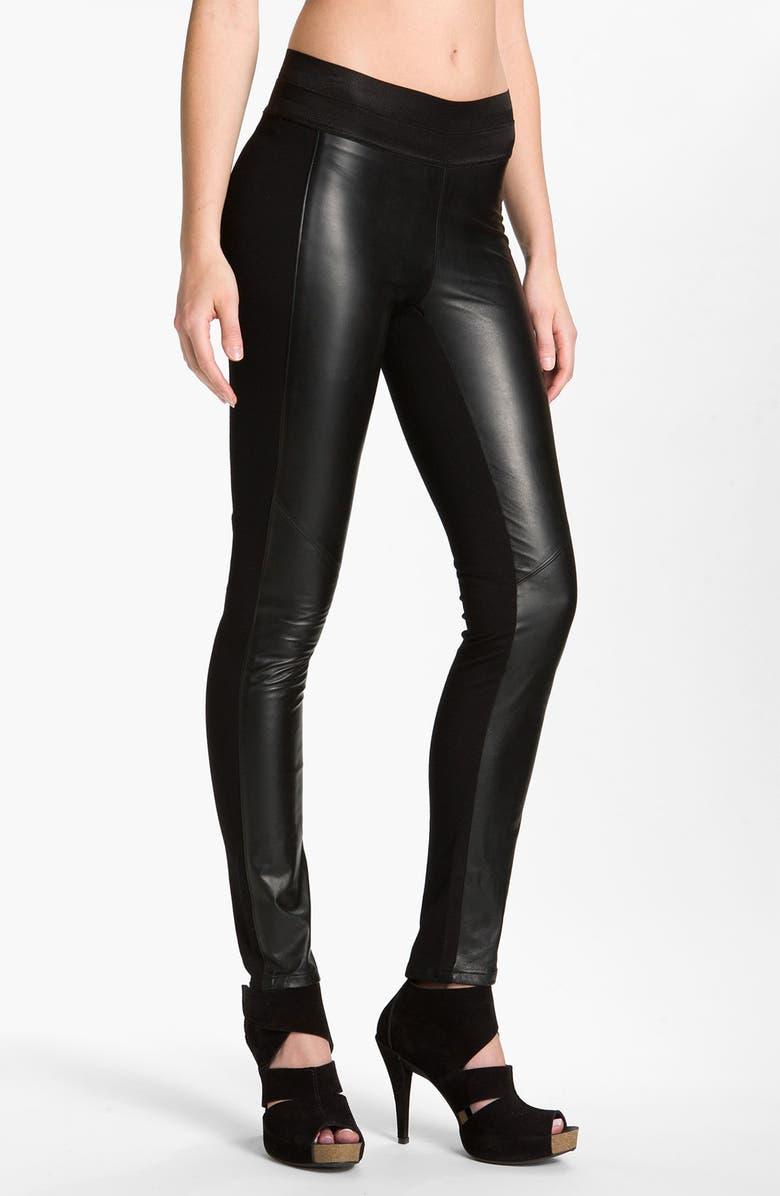 PAIGE BLACK LABEL 'Paloma' Leather Panel Leggings, Main, color, 001