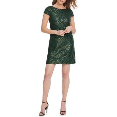 Vince Camuto Geo Sequin Cocktail Minidress, Green