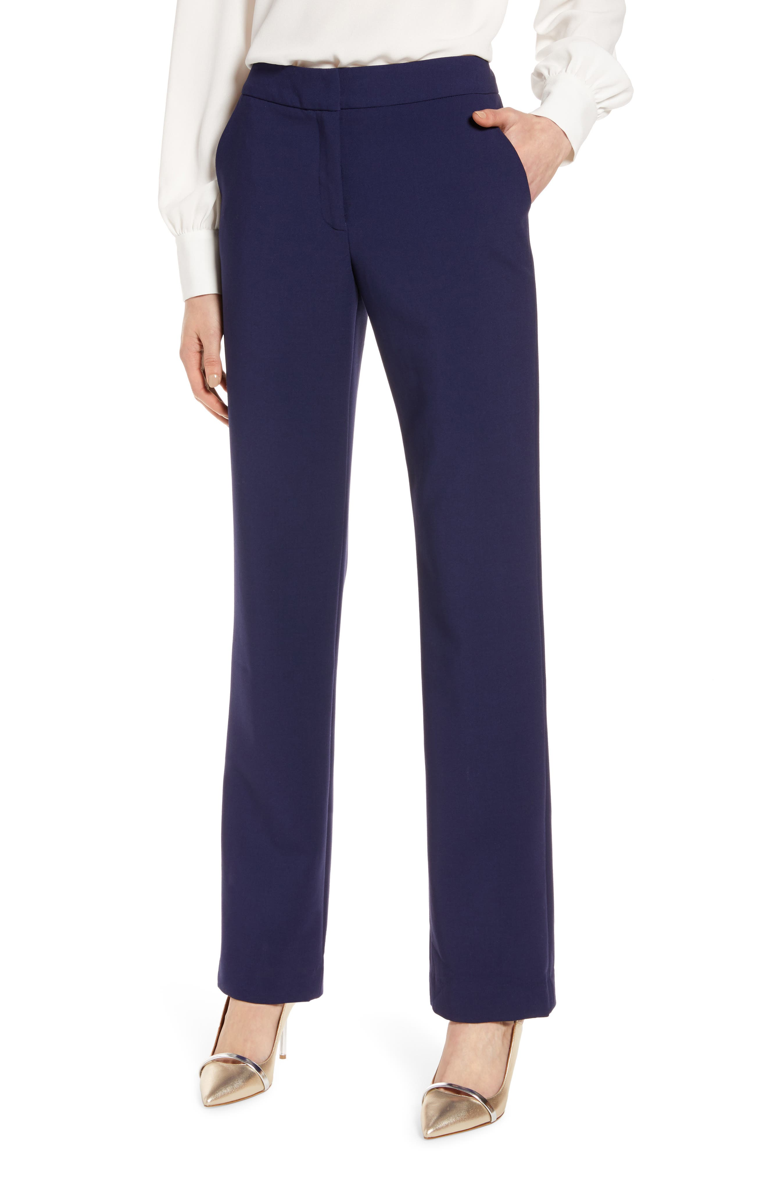 Halogen® Slim Straight Trousers (Regular & Petite)