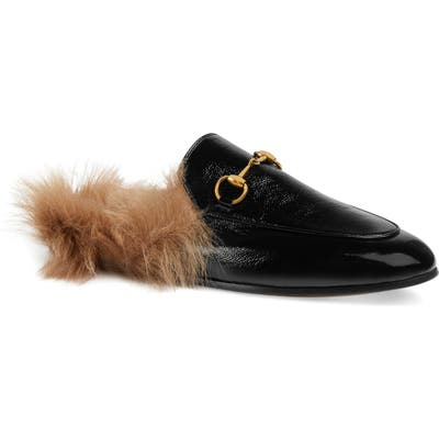 Gucci Princetown Genuine Shearling Loafer Mule, Black