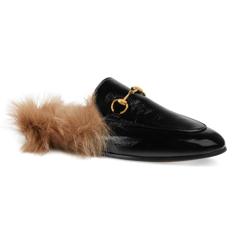 GUCCI Princetown Genuine Shearling Loafer Mule, Main, color, BLACK PATENT