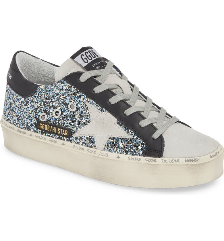 GOLDEN GOOSE Glitter Hi Star Platform Sneaker, Main, color, BLACK GLITTER/ ICE