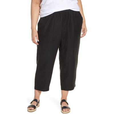 Plus Size Eileen Fisher Slouchy Ankle Pants, Black