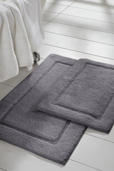 Image of Modern Threads Charcoal Solid Loop Non-Slip Bath Mat 2-Piece Set