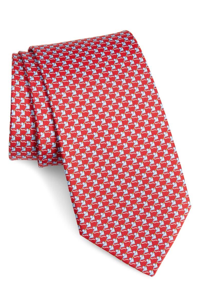 SALVATORE FERRAGAMO Iso Mouse Print Silk Tie, Main, color, F. ROSSO