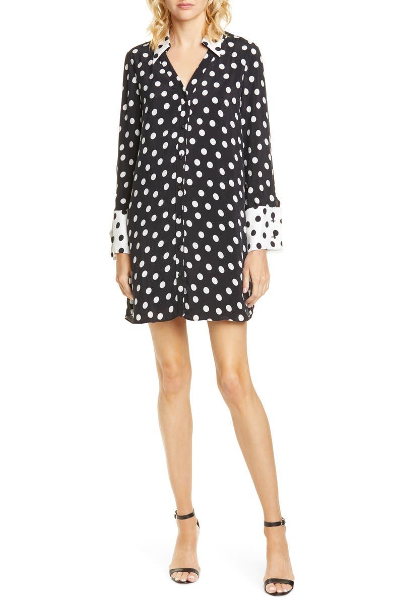 ALICE + OLIVIA Halima Long Sleeve Polka Dot Shirtdress, Main, color, 001