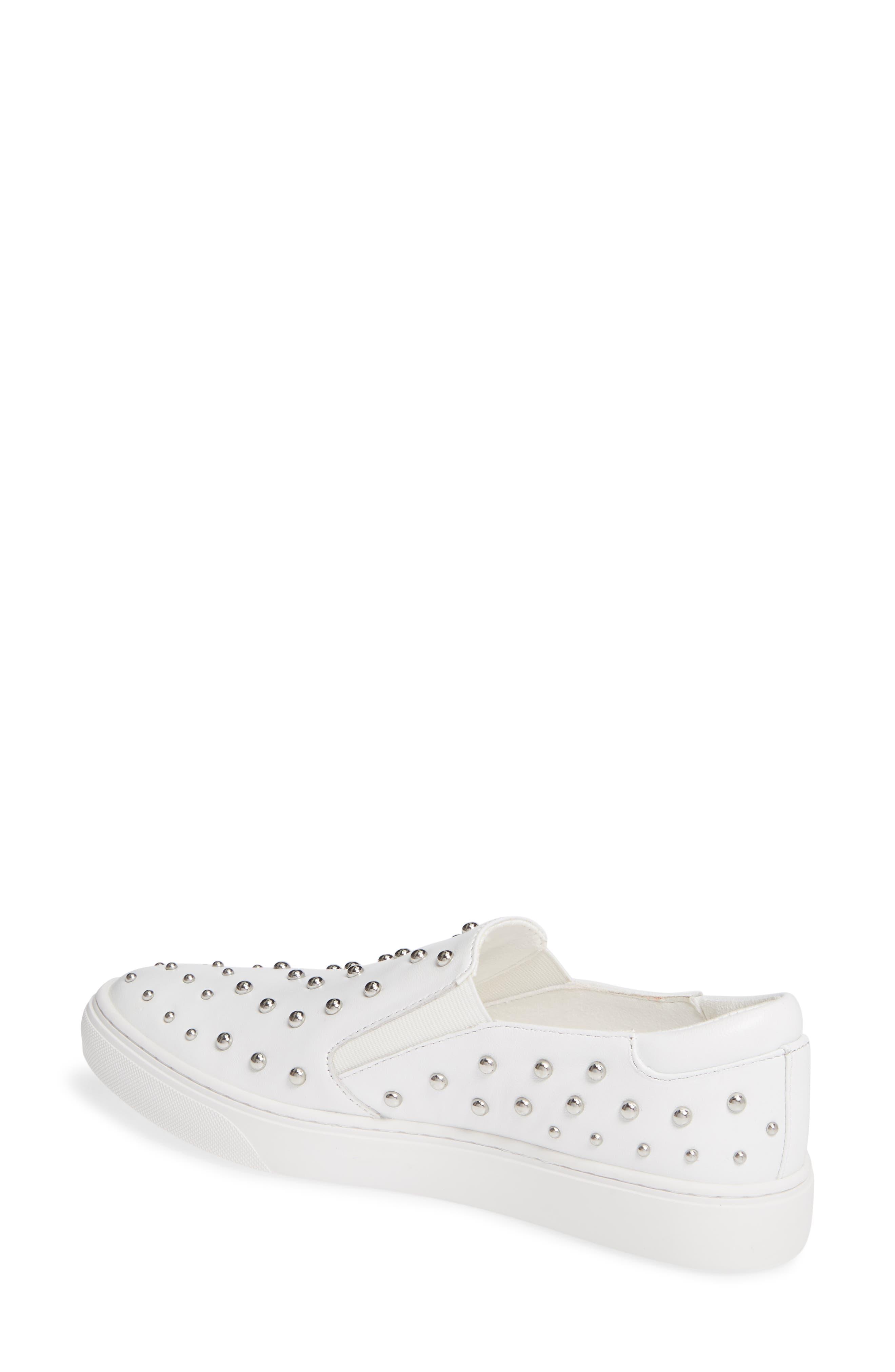 ,                             Mara Stud Slip-On Sneaker,                             Alternate thumbnail 2, color,                             WHITE LEATHER