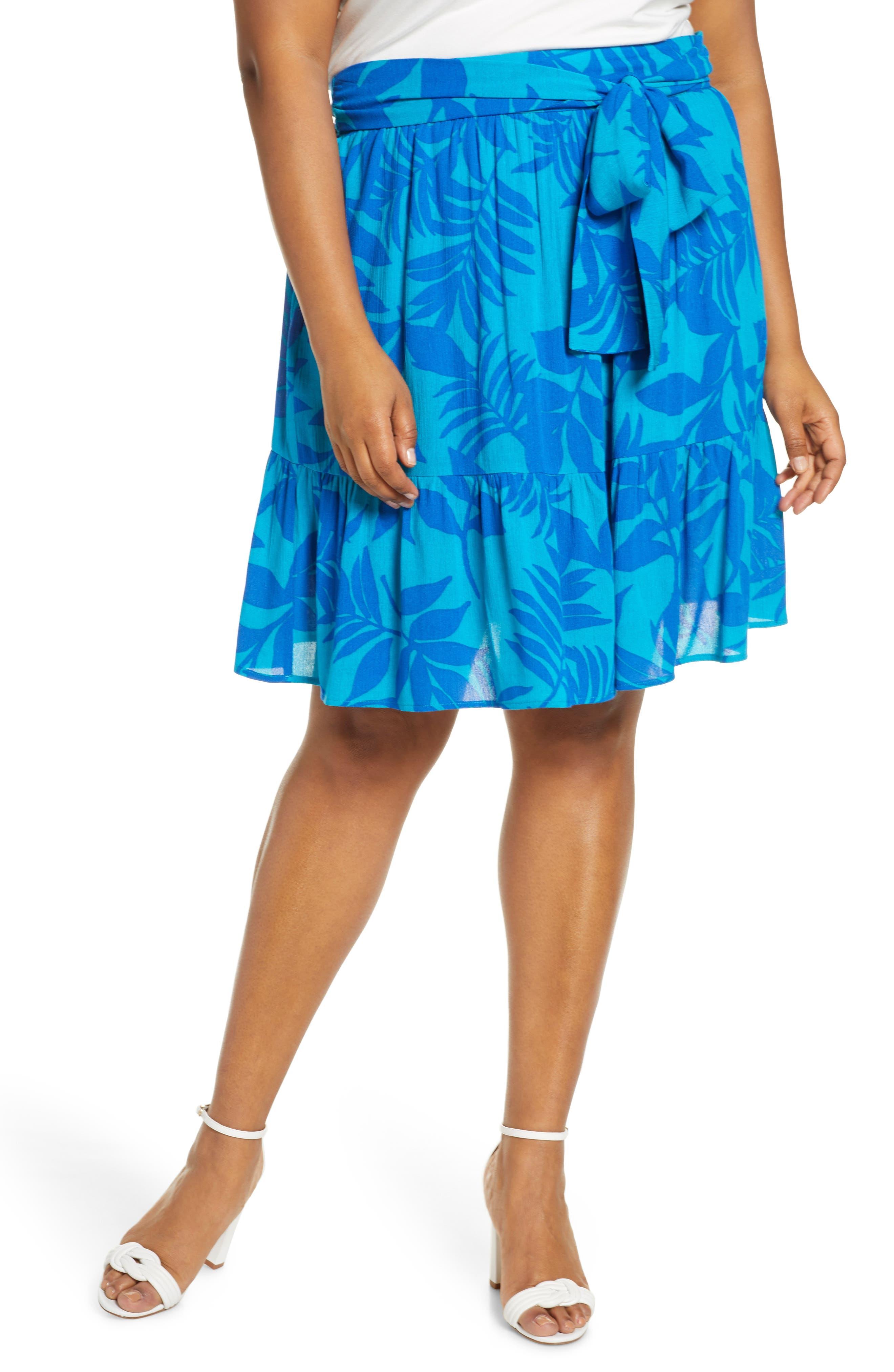 Plus Size Gibson X Hi Sugarplum! Capri Tiered Tie Front Summer Skirt, Blue