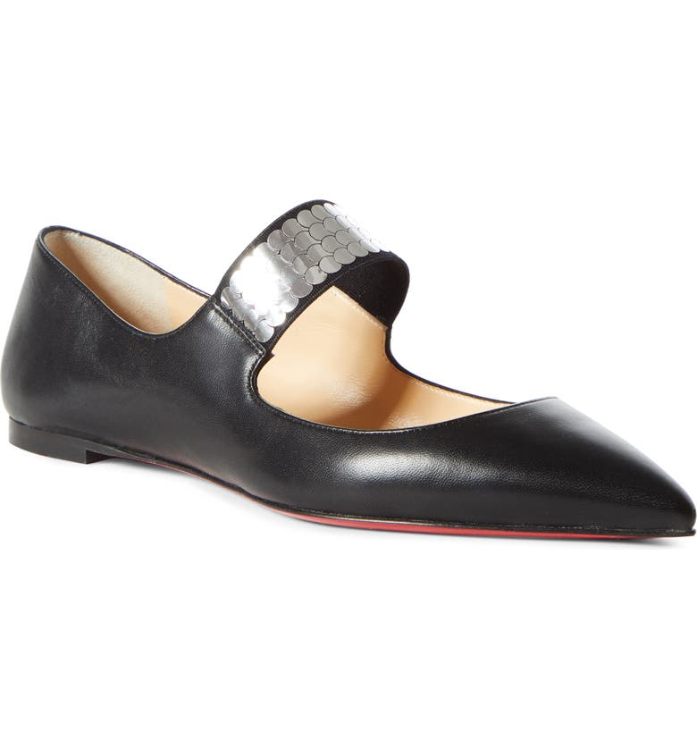CHRISTIAN LOUBOUTIN Xibabe Disco Ball Mary Jane Flat, Main, color, BLACK