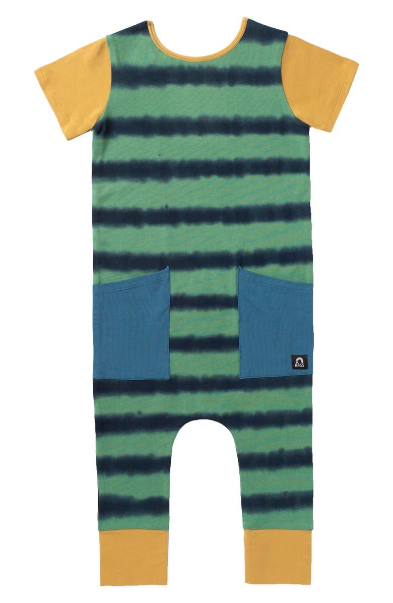 RAGS Tie Dye Stripe Hip Pocket Romper, Main, color, MIDNIGHT TIE DYE