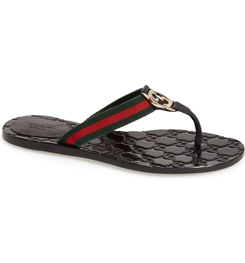 GUCCI GG Logo Flip Flop, Main, color, NERO