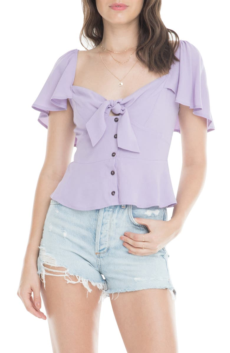 ASTR THE LABEL Gwen Front Tie Ruffle Sleeve Peplum Top, Main, color, LAVENDER