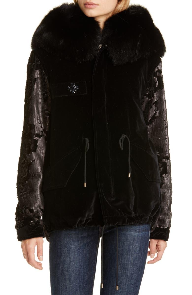 MR & MRS ITALY Sequin Embellished Velvet Coat with Removable Genuine Fox Fur Trim, Main, color, BLACK