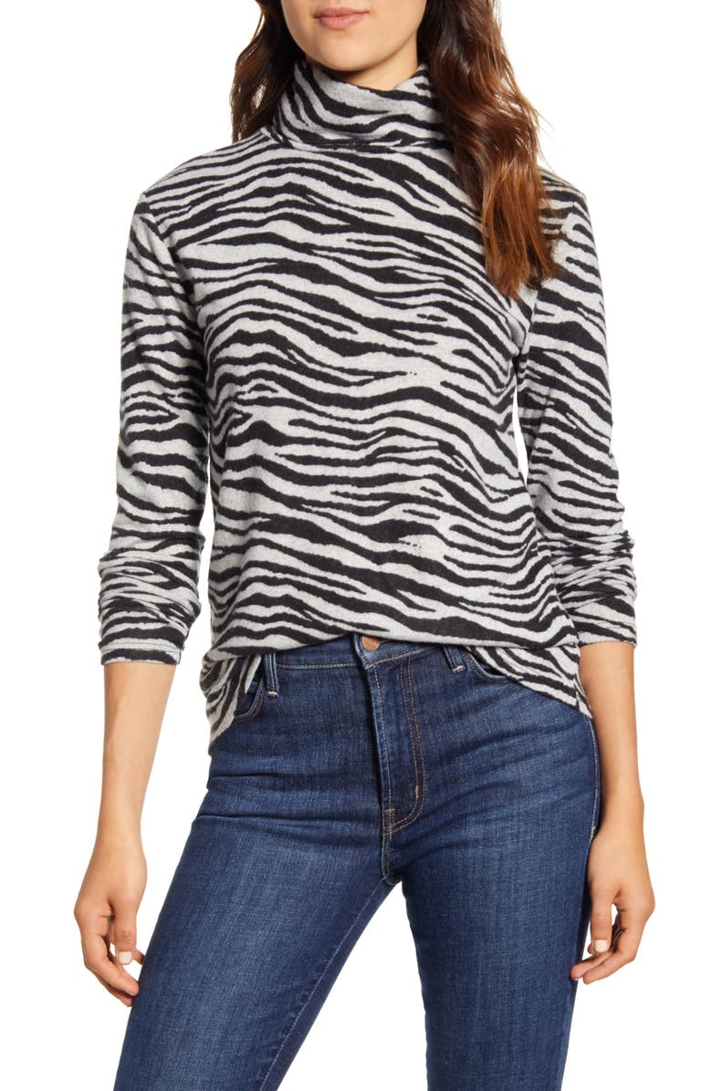 BEACHLUNCHLOUNGE Animal Print Turtleneck Hacci Top, Main, color, SLATE ZEBRA