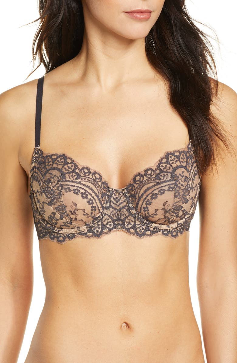 NATORI Calm Lace Underwire Demi Bra, Main, color, BLACK/ CAFE