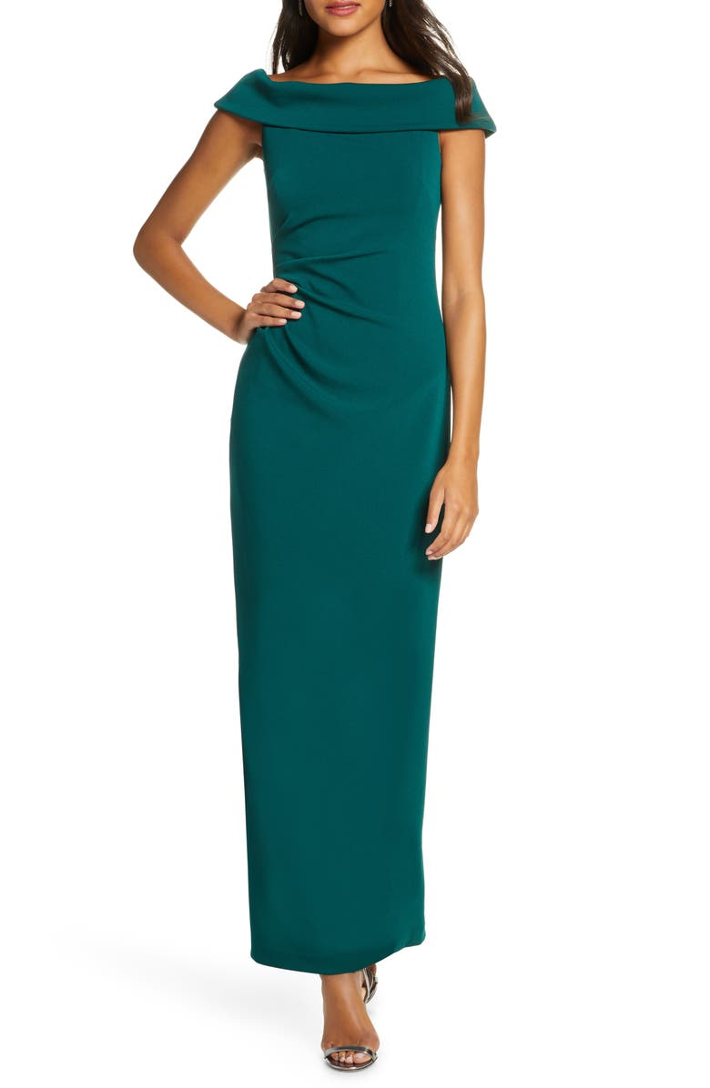 VINCE CAMUTO Foldover Neck Side Ruched Column Gown, Main, color, EME