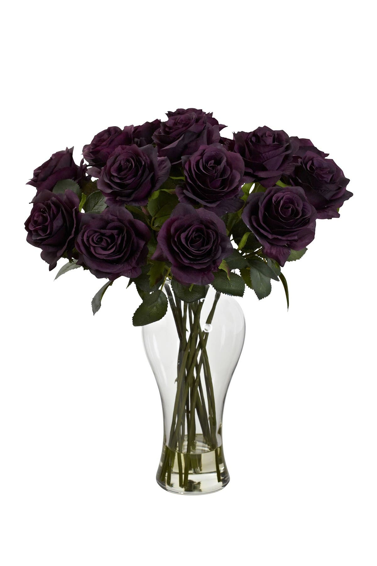 Image of NEARLY NATURAL Blooming Roses with Vase