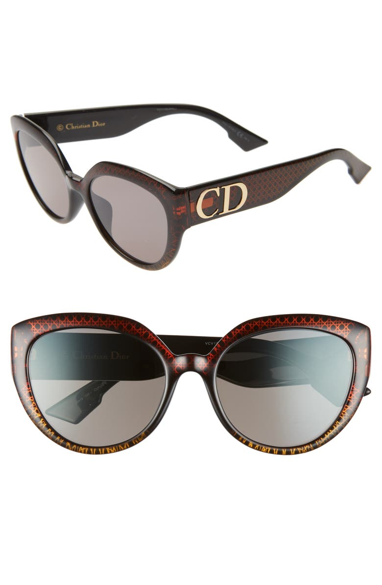 DIOR DDIORF 56mm Cat Eye Sunglasses, Main, color, BROWN GOLD PATTERN/ BLACK