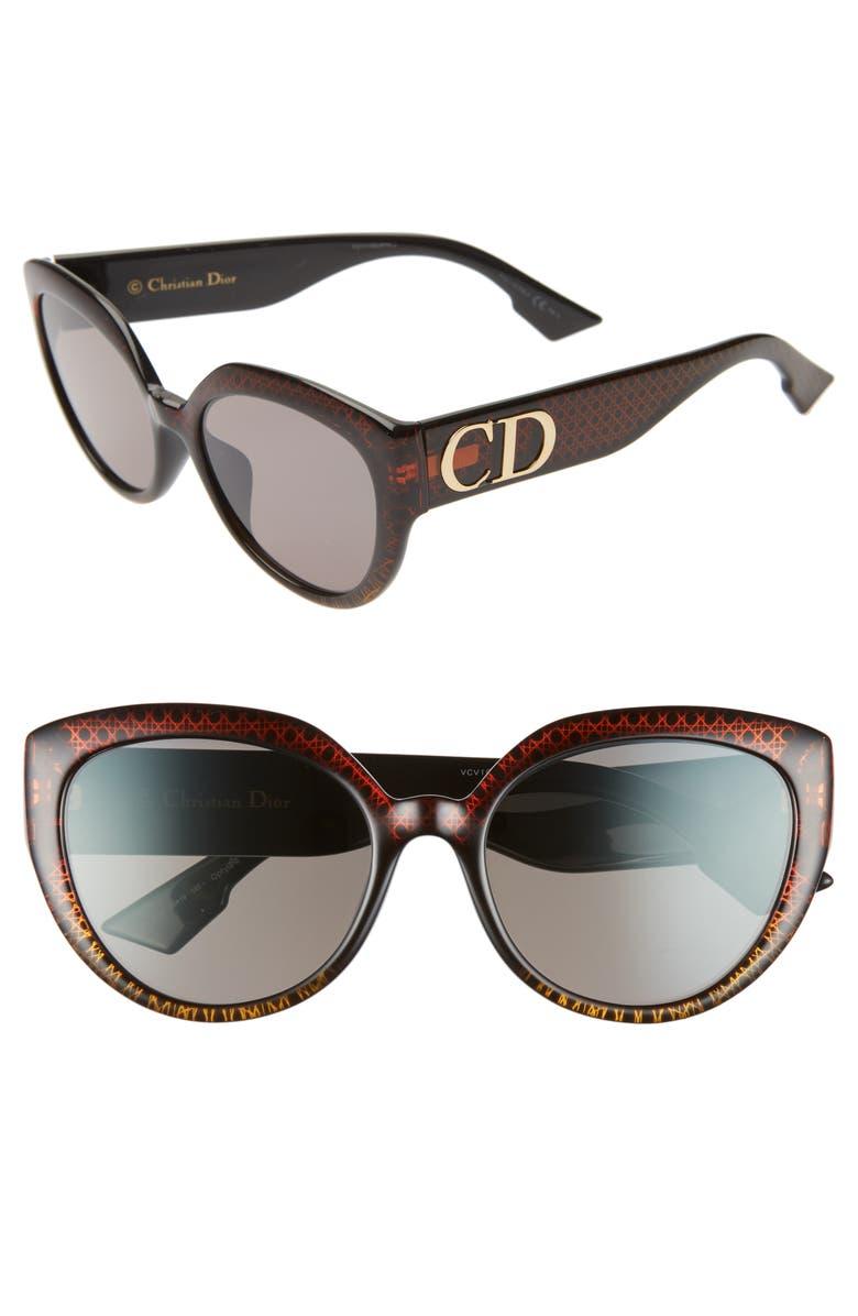 DIOR DDIORF 56mm Cat Eye Sunglasses, Main, color, BROWN GOLD PATTERN/ BLACK