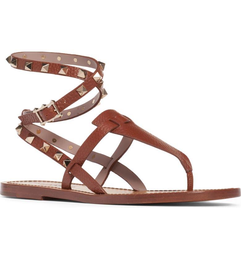 VALENTINO GARAVANI Rockstud Ankle Wrap Thong, Main, color, COGNAC