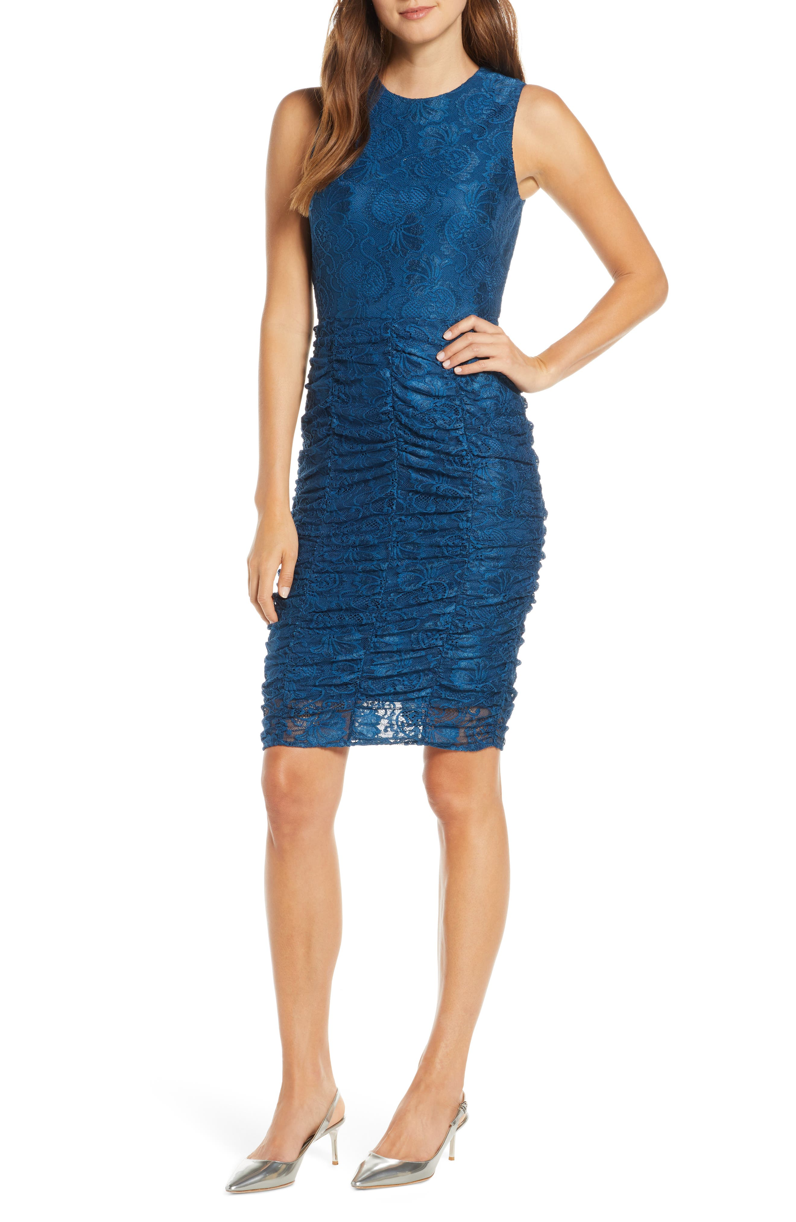 Image of Eliza J Ruched Lace Bodycon Dress